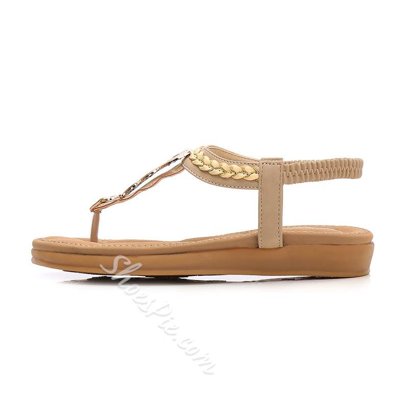 Casual Elastic Band Flat Thong Low-Cut Upper Beach Sandals