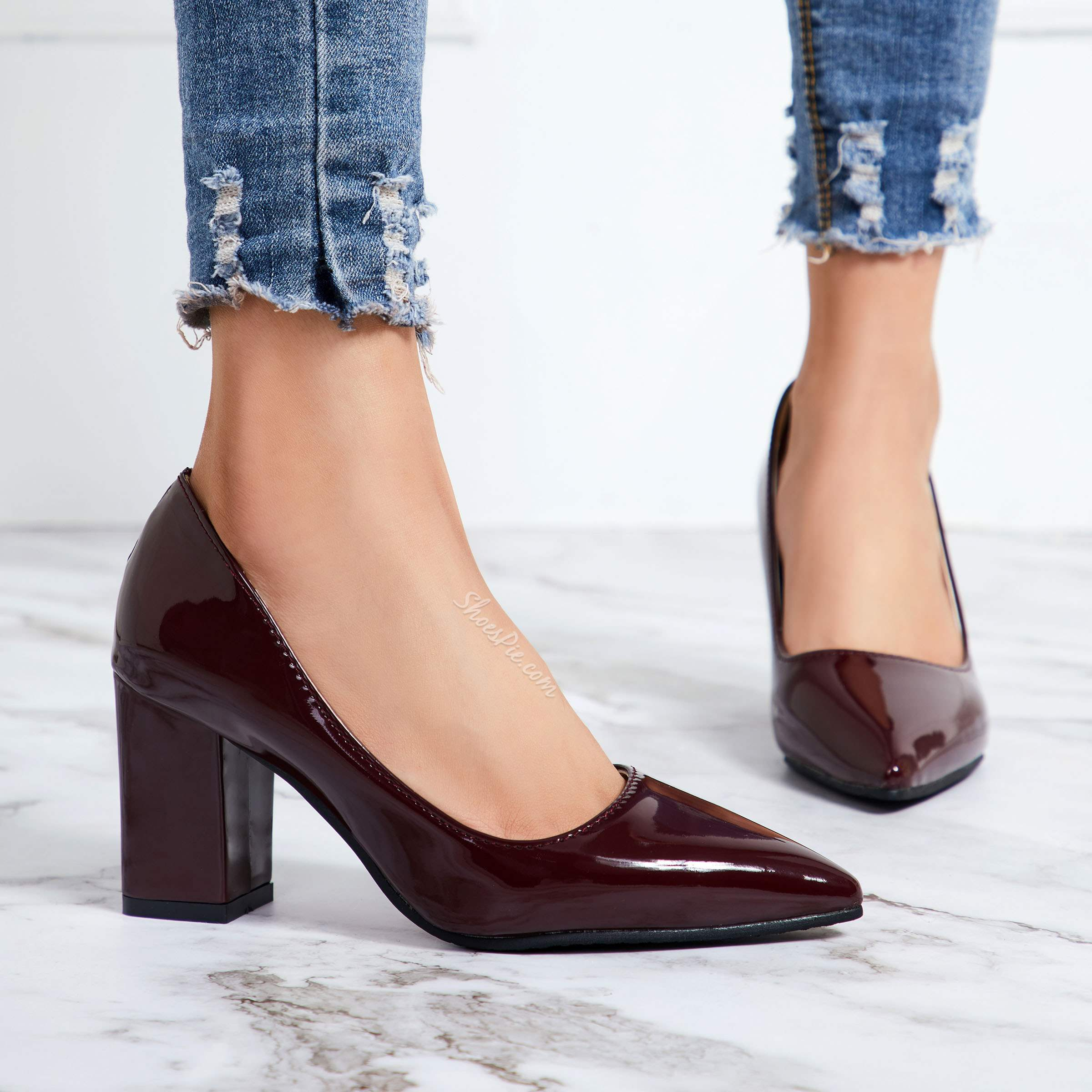 Shoespie Pointed Toe Professional Slip On Chunky Low Heels