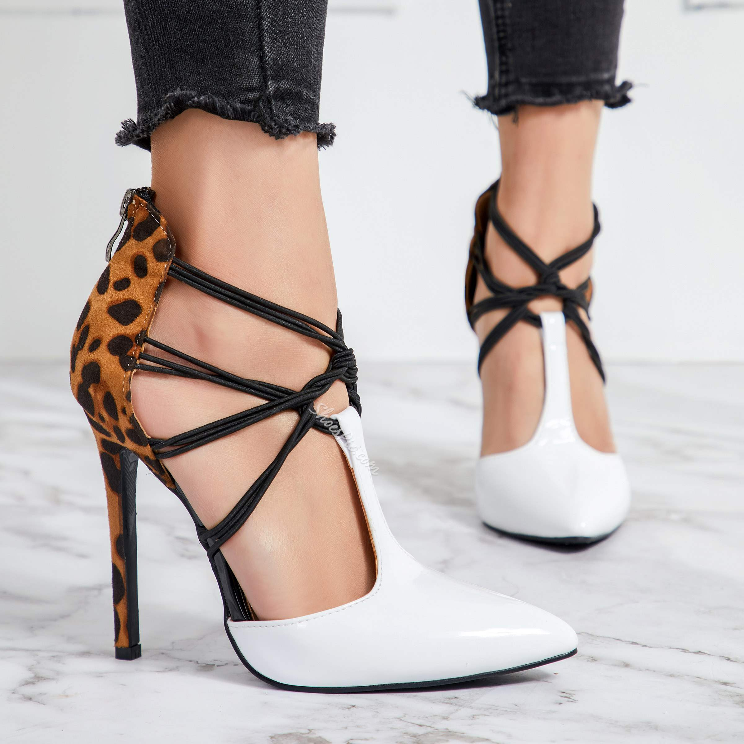 Shoespie White Pointed Toe T Strap Stiletto Heels