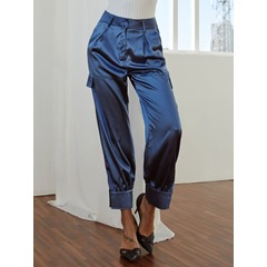 Plain Loose Pleated Low-Waist Women's Casual Pants