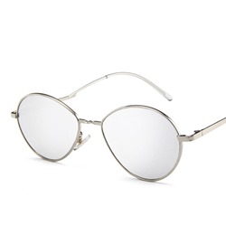 Chic Resin Lens Silver Metal Frame Oval Sunglasses