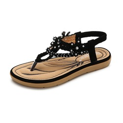 Summer Trendy Flat Elastic Band Thong Rhinestone Sandals