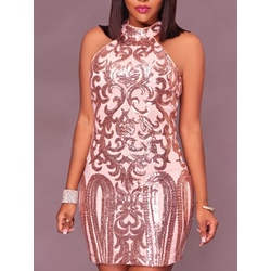 Sleeveless Round Neck Sequins Bodycon Women's Bodycon Dress