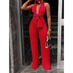 Plain Sexy Backless Wide Legs Women's Jumpsuit
