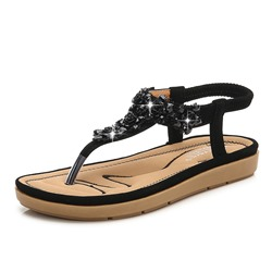 Shoespie Sexy Elastic Band Thong Flat With Floral Sandals