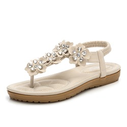 Shoespie Flower Elastic Band Flat Beaded Sandals
