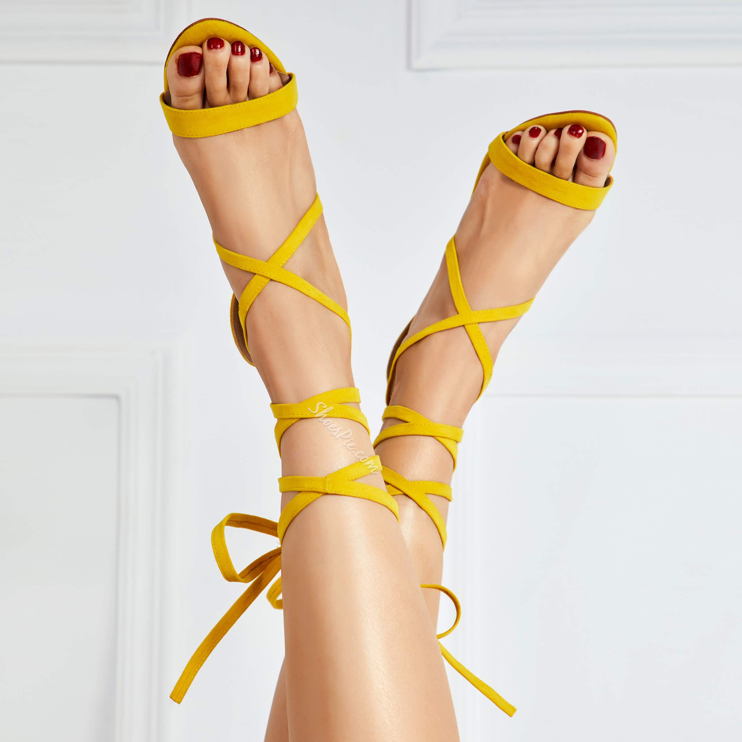 Shoespie Cute Yellow Open Toe Lace-Up Stiletto Heel Sandals