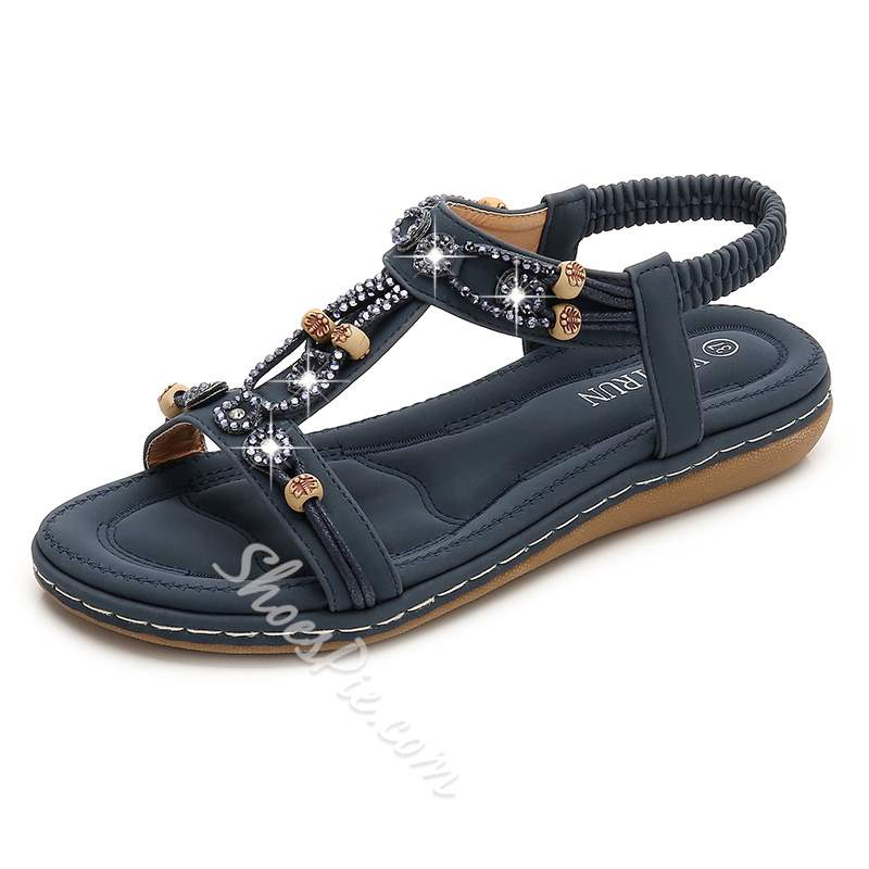 Shoespie Stylish Flat With Elastic Band Open Toe Beads Sandals
