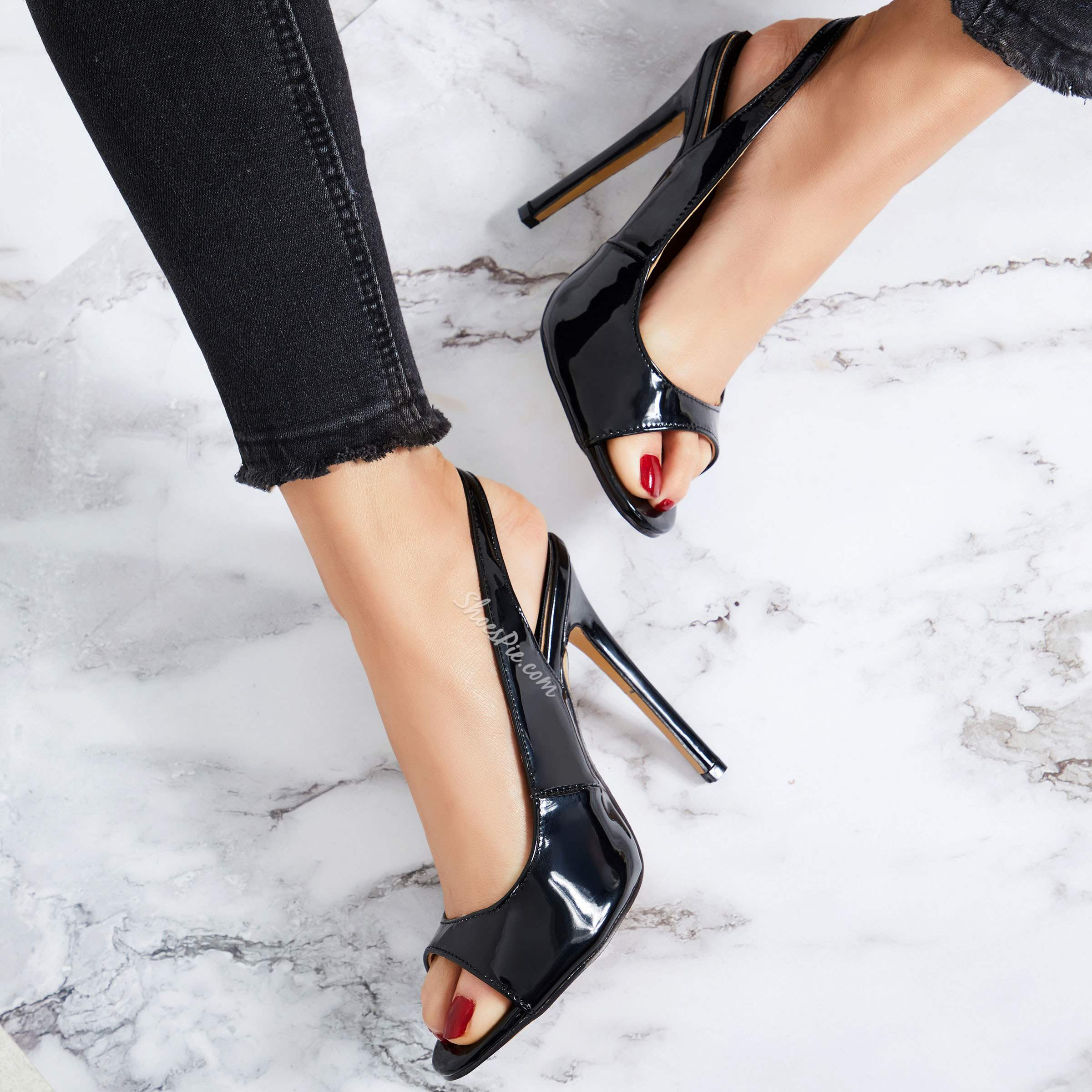 Black Slingback strap Buckle Stiletto Heels