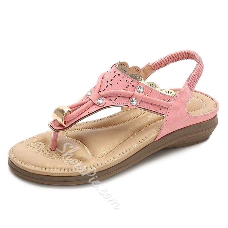 shoespie Beaded Elastic Band Thong Sandals