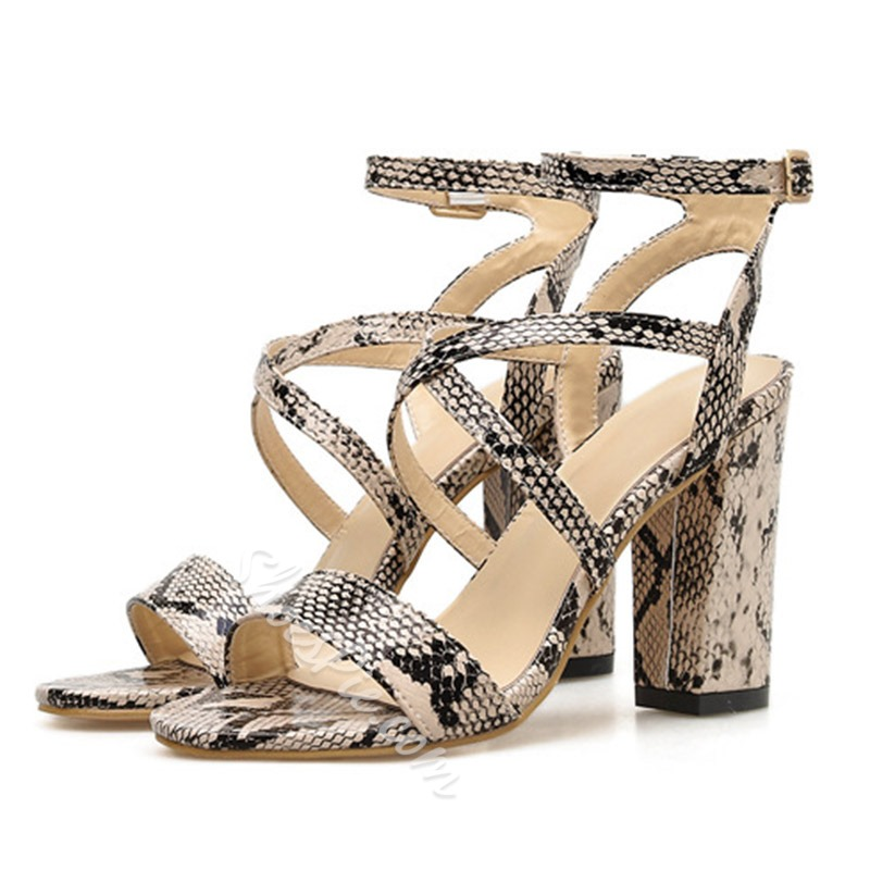 Shoespie Snake Pattern Ankle Strap Chunky Heel Sandals
