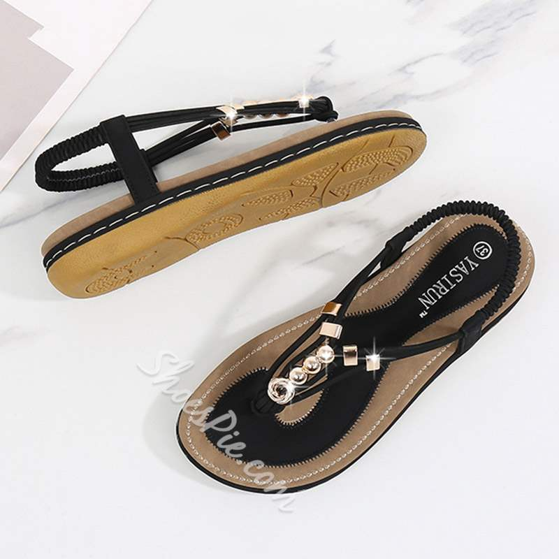 Shoespie Bohemia Elastic Band Rhinestone Sandals