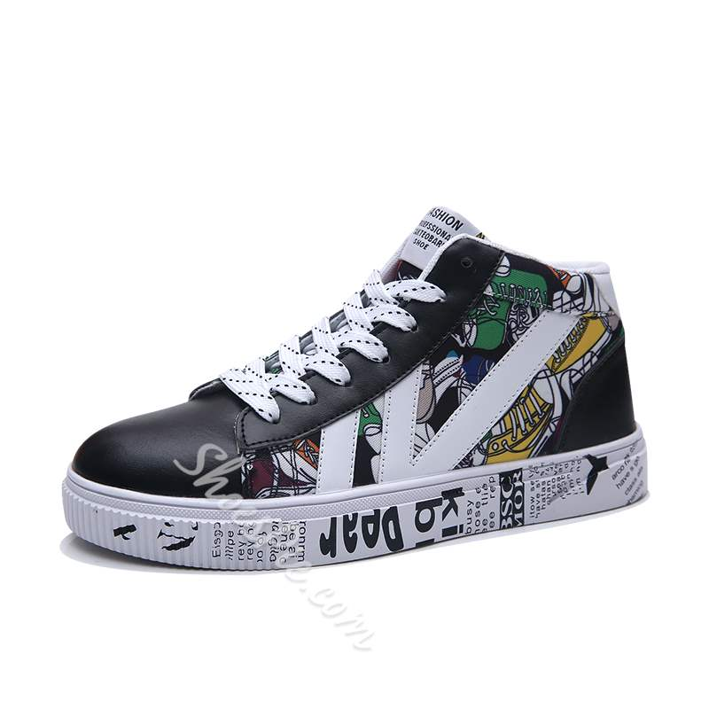 Shoespie Print Lace-Up Flat With Round Toe Men's Skate Shoes