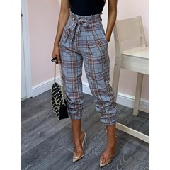 Plaid Pleated Loose High-Waist Women's Casual Pants