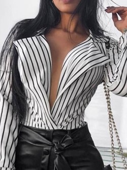 Print Stripe Regular Long Sleeve Women's Blouse