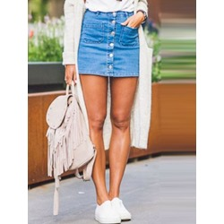 Pocket Mini Skirt Plain Casual Women's Skirt