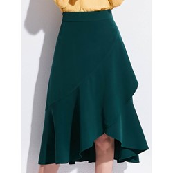 Knee-Length Asymmetrical Plain High Waist Women's Skirt