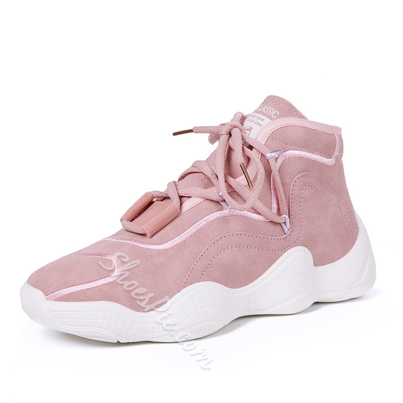 Shoespie Faux Suede Lace-Up Chunky Sneakers