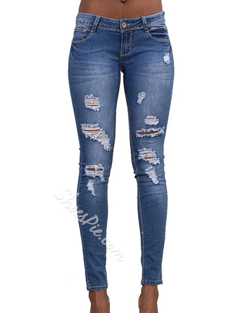 Pencil Pants Plain HoleSlim Women's Jeans