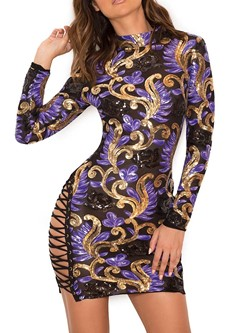 Above Knee Long Sleeve Round Neck Fall Women's Bodycon Dress
