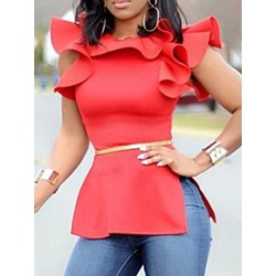 Ruffle Sleeve Round Neck Falbala Short Sleeve Women's Blouse