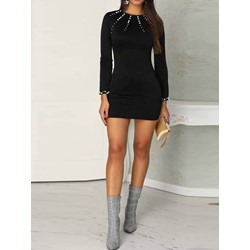Bead Long Sleeve Above Knee Regular Women's Bodycon Dress