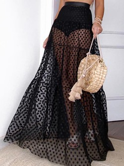 Floor-Length Expansion Mesh High Waist Women's Skirt