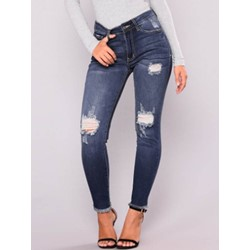 Pencil Pants Hole Plain Low Waist Women's Jeans