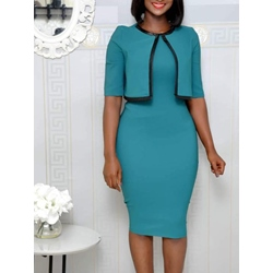 Knee-Length Half Sleeve Round Neck Standard-Waist Women's Bodycon Dress