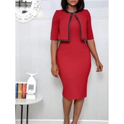 Round Neck Half Sleeve Knee-Length Plain Women's Bodycon Dress
