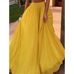 Expansion Plain Floor-Length High Waist Women's Skirt