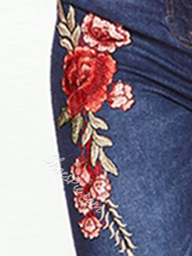 Embroidery Pencil Pants Floral Skinny Women's Jeans