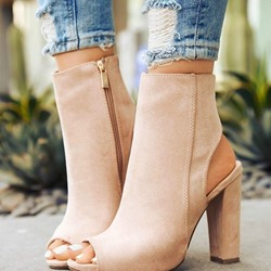 Shoespie Stylish Zipper Chunky Heel Peep Toe Sandals