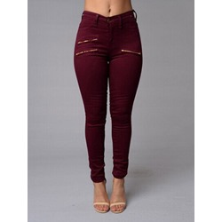 Zipper Plain Pencil Pants Skinny Women's Jeans