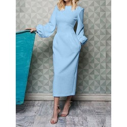 Round Neck Long Sleeve Ankle-Length Lantern Sleeve Women's Dress