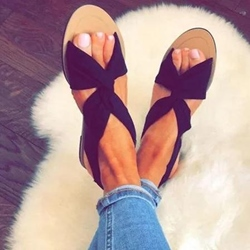 Shoespie Open Toe Cross Strap Flat Sandals
