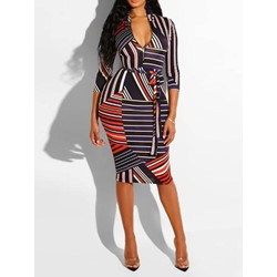 Knee-Length Sleeveless Print Bodycon Women's Bodycon Dress