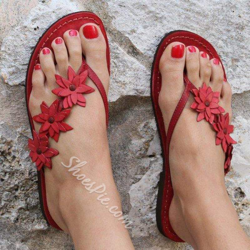 Shoespie Red Stylish Flat With Slip-On Thong Western Slippers