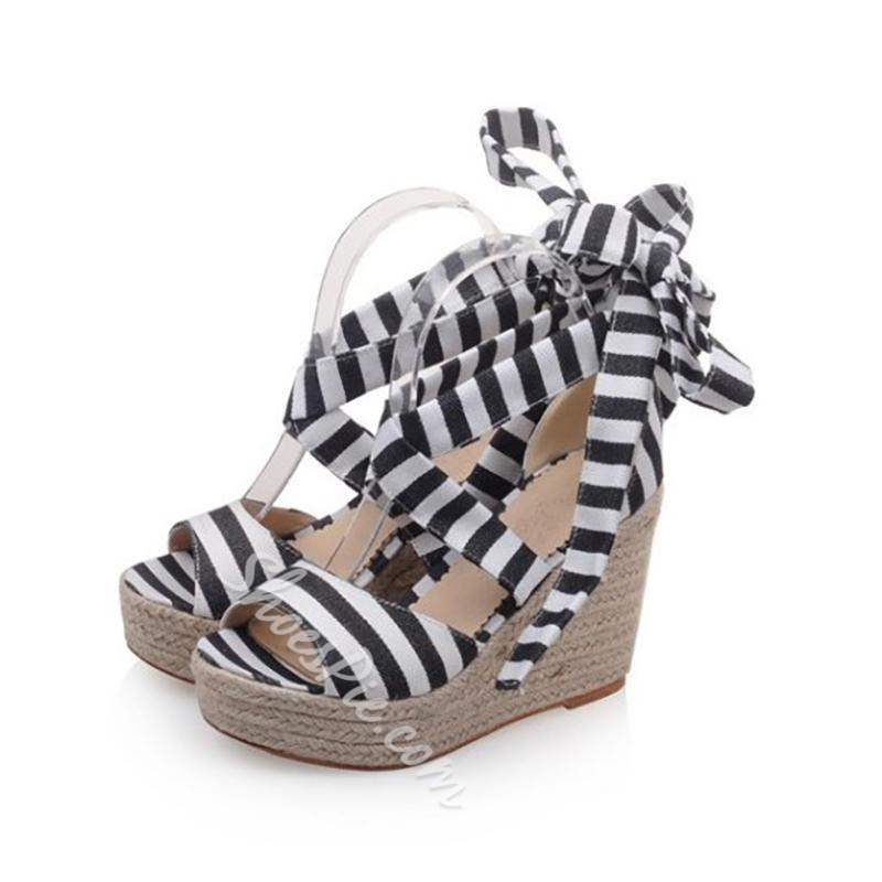 Shoespie Trendy Wedge Heel Lace-Up Open Toe Sandals