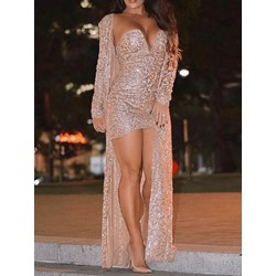 Floor-Length Sequins Long Sleeve Women's Dress
