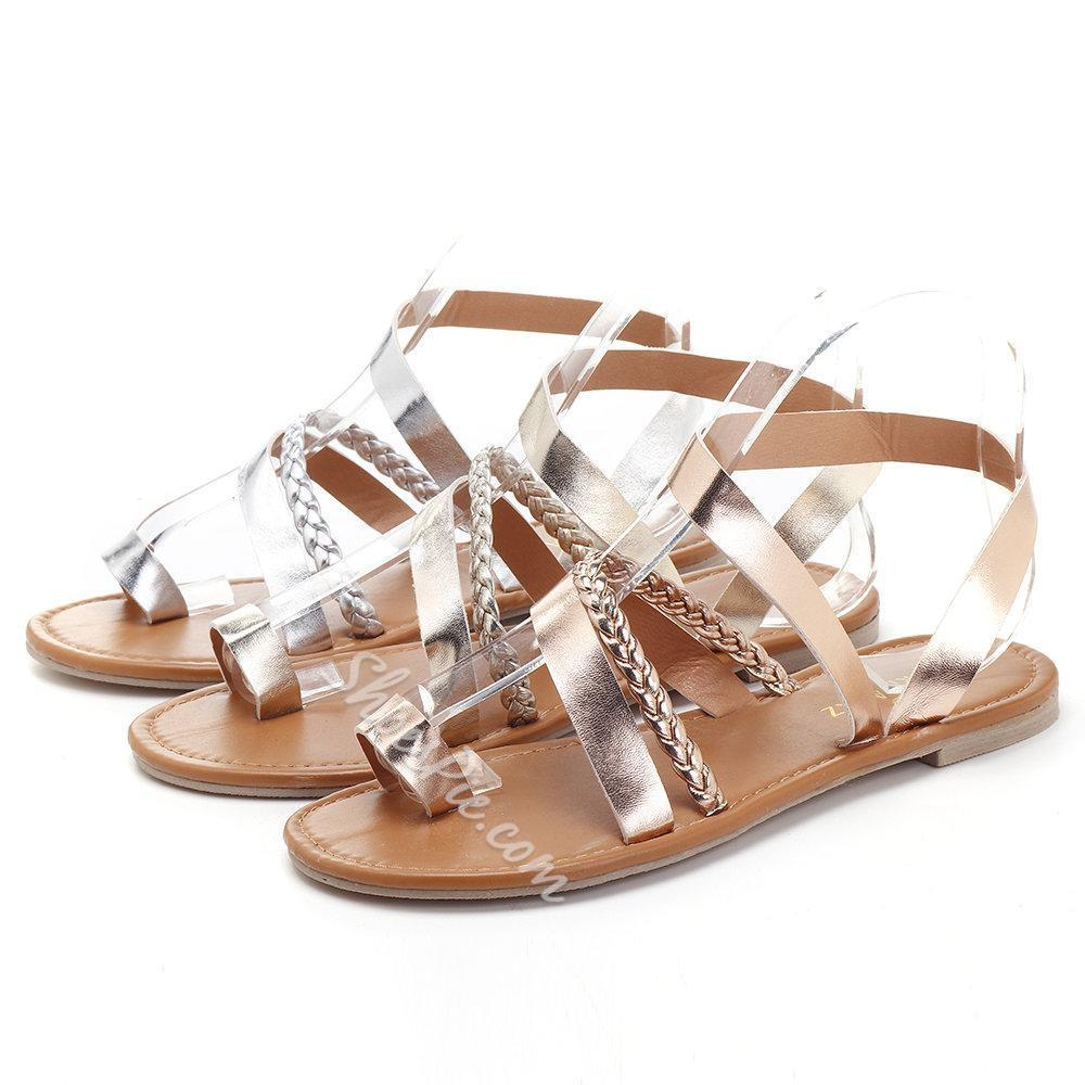 Shoespie Sexy Buckle Open Toe Flat Sandals
