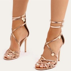 Shoespie Zipper Stiletto Heel Sequin Sandals