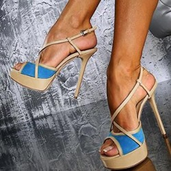 Shoespie Solid Buckle Strap Platform Heels Peep Toe Sandals