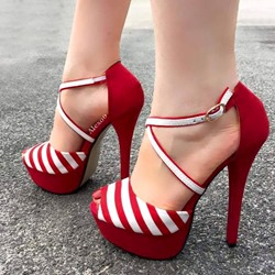 Shoespie Sexy Peep Toe Stripe Buckle Stiletto Heel Platform Sandals