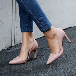 Shoespie Slip-On Glitter Pointed Toe High Heels