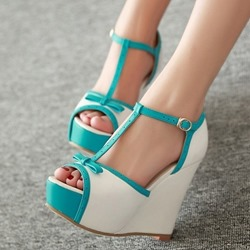 Shoespie Sexy Blue Heel Covering Buckle Wedge Heel Casual Sandals