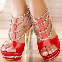 Shoespie Platform Beaded Zipper Stiletto Heel Sandals