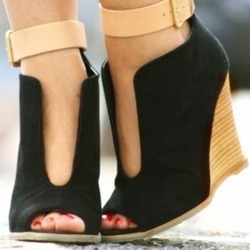 Shoespie Black Wedge Heel Peep Toe Color Block Sandals
