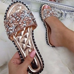 Shoespie Stylish Flip Flop Rhinestone Slip-On Summer Slippers