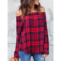 Plaid Regular Off Shoulder Standard Women's Blouse